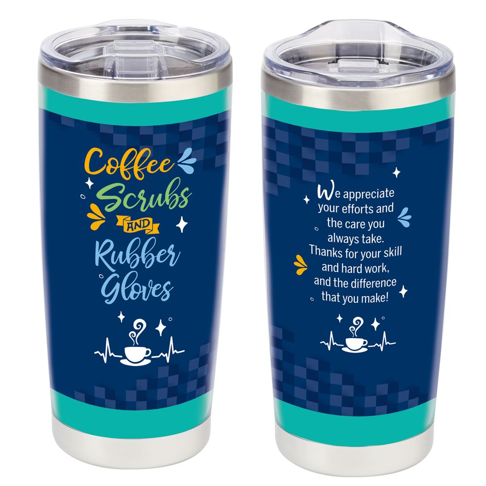 Coffee, Scrubs, & Rubber Gloves Full-Color Insulated Tumbler 20-Oz.