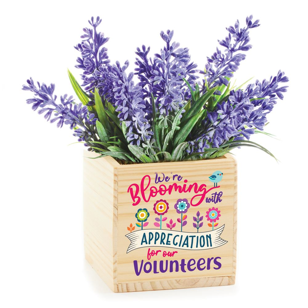 We're Blooming With Appreciation For Our Volunteers Wooden Planter Cube with Lavender