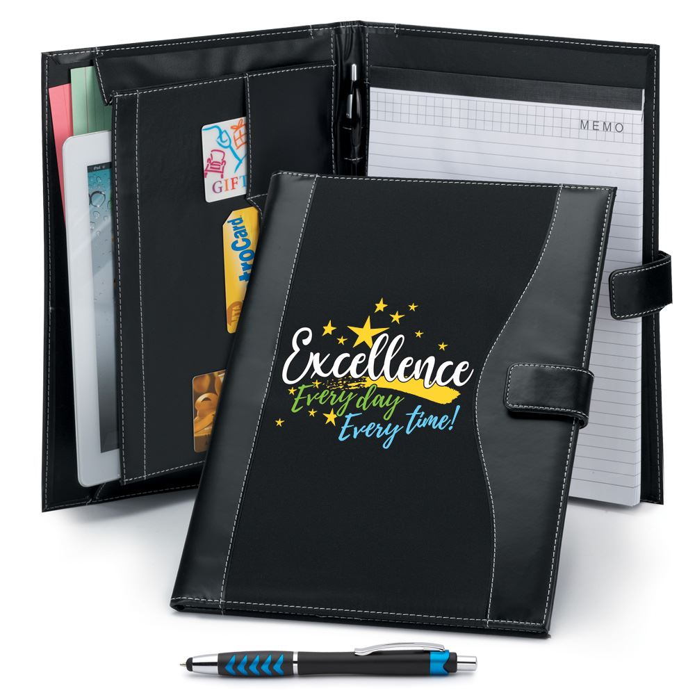 Excellence: Every Day, Every Time!�Leatherette Portfolio With Stylus Pen