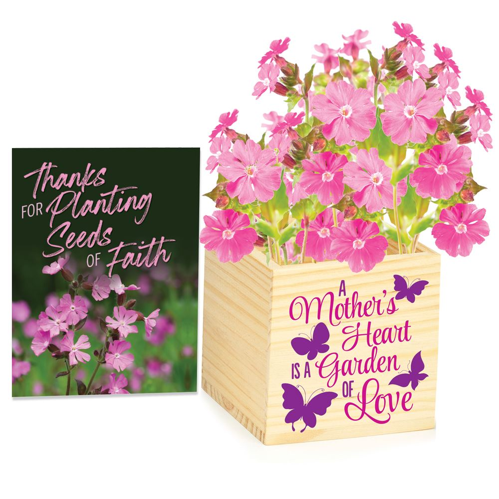 A Mother's Heart Is A Garden Wooden Flowerpot Cube