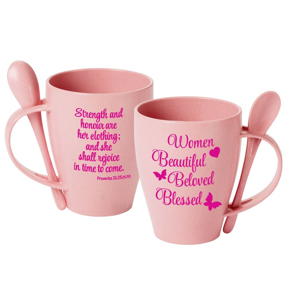 Women: Beautiful, Beloved, Blessed Eco-Friendly Wheat Mug 12-Oz. With Spoon