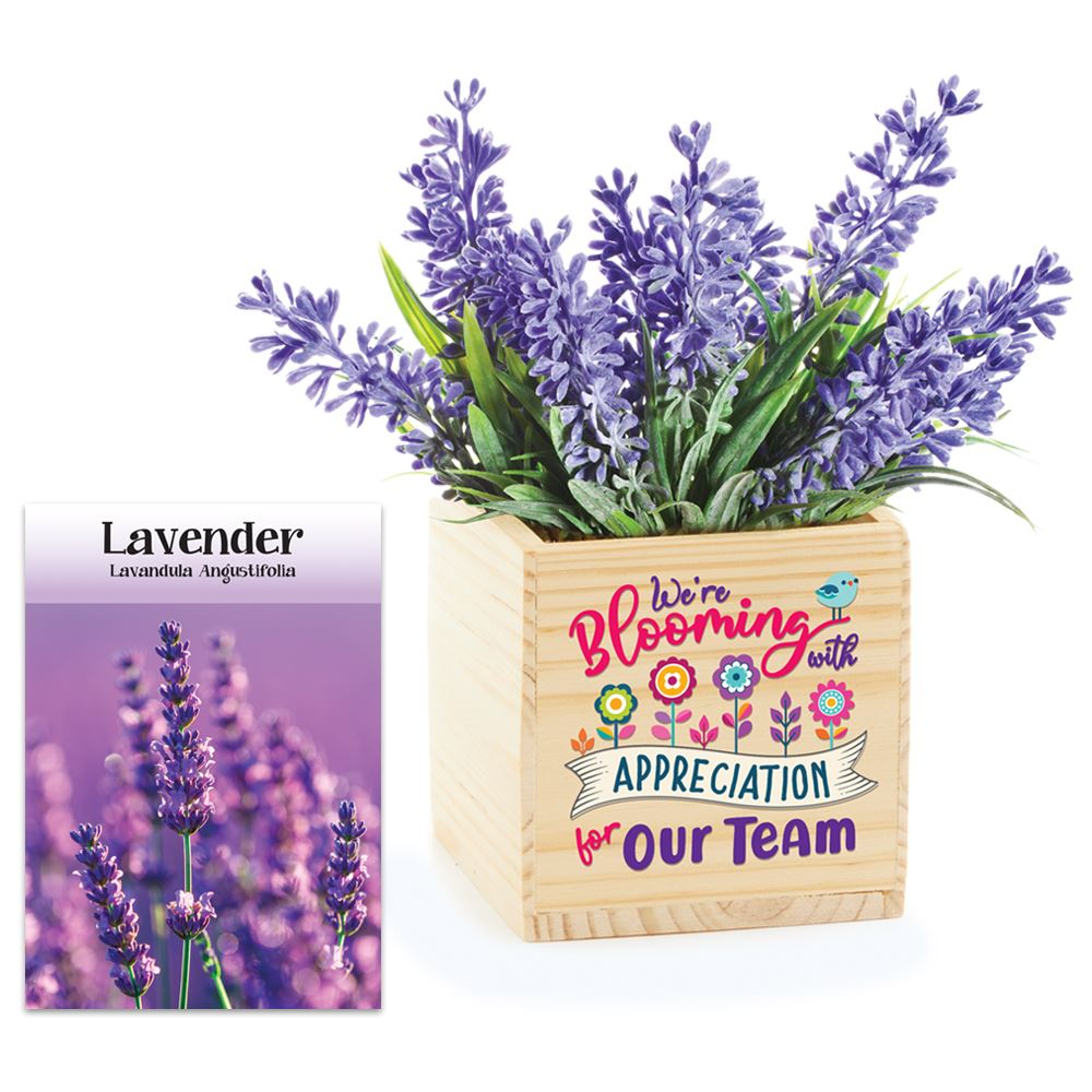 We're Blooming With Appreciation For Our Team Wooden Planter Cube With Lavender Seeds