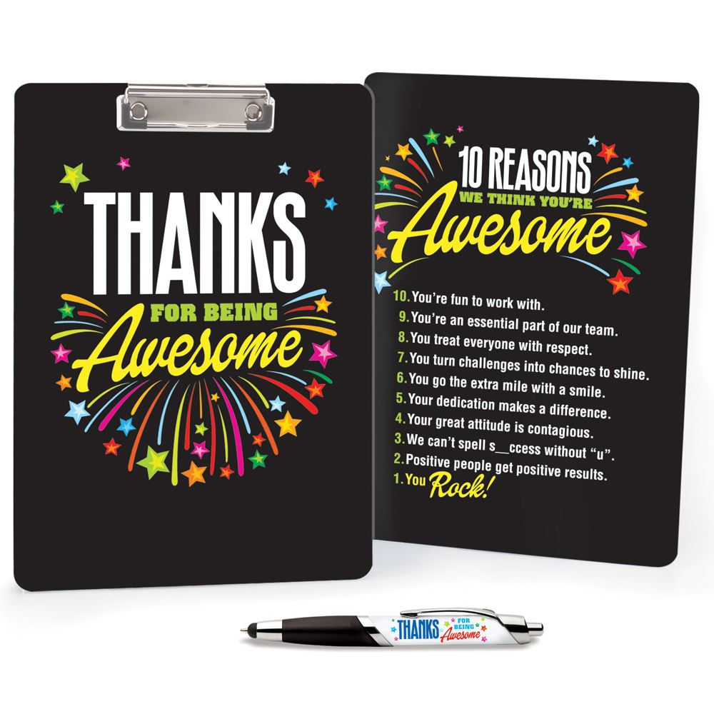 Thanks For Being Awesome Clipboard & Full-Color Pen Value Set