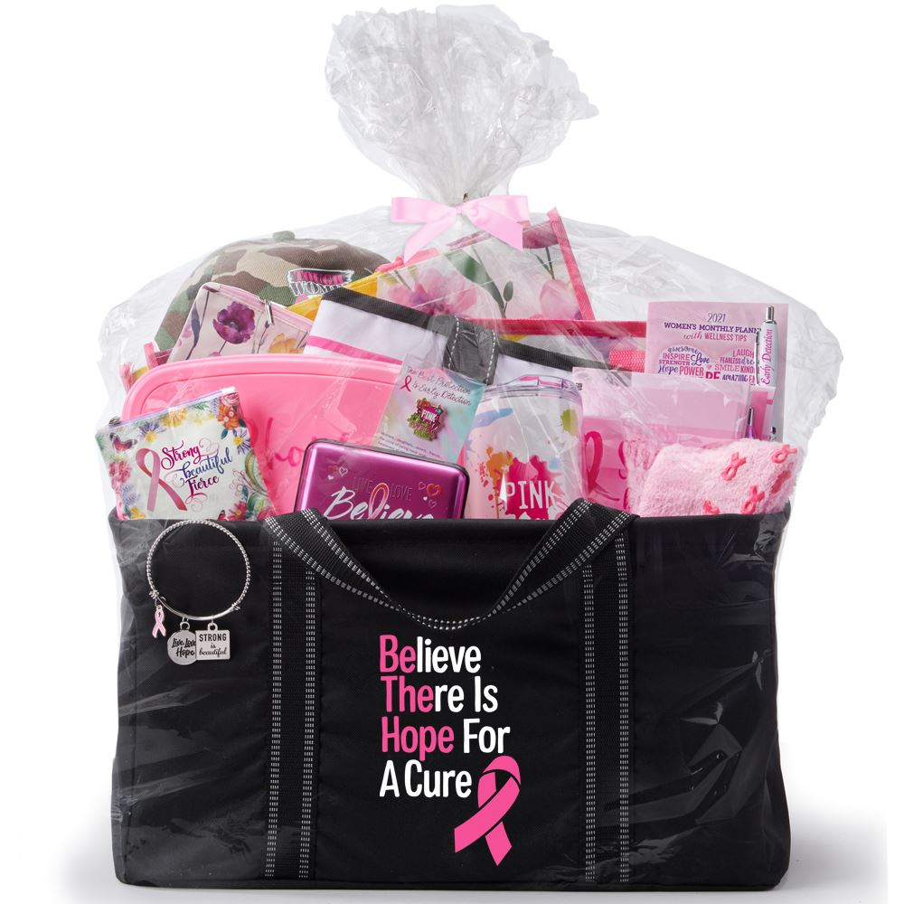 Breast Cancer Awareness Deluxe Utility Tote Gift Basket