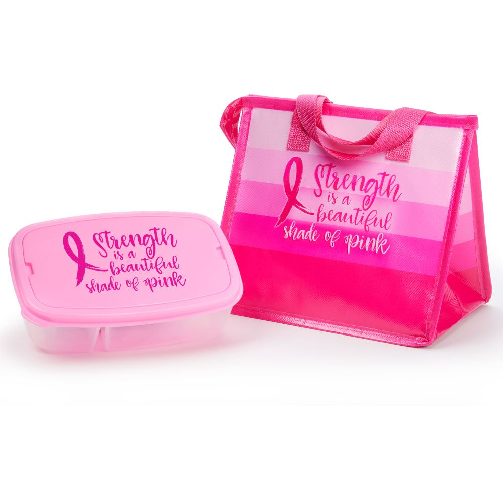 Strength Is A Beautiful Shade Of Pink Eco-Lunch Bag & Food Container Gift Combo