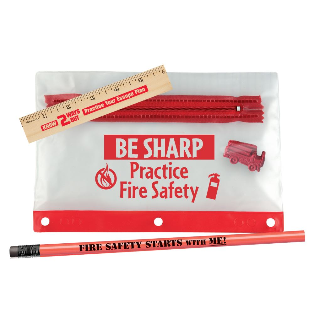 Be Sharp, Practice Fire Safety 4-Piece Pencil Pouch Gift Set