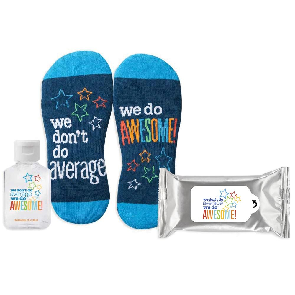 We Don't Do Average We Do Awesome Sock It To Germs Praise & Protection Kit