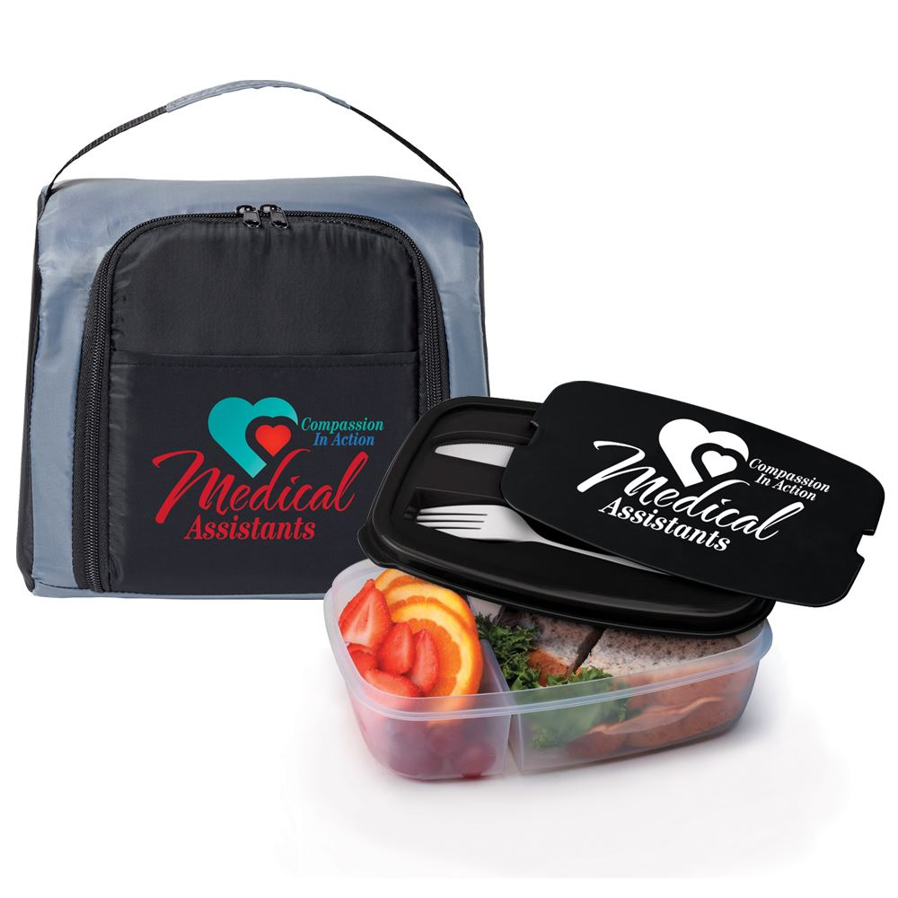 Medical Assistants: Compassion In Action Springfield Lunch/Cooler Bag & 2-Section Food Container Gift Set