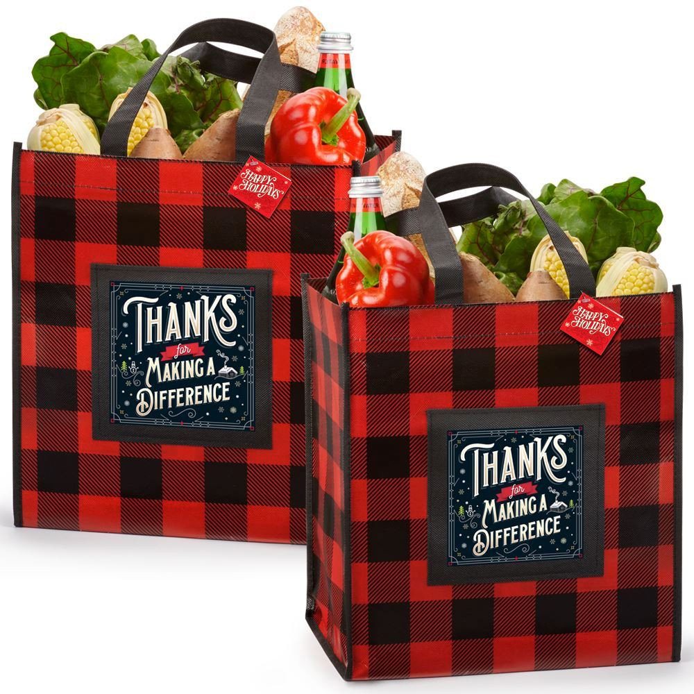 Thanks For Making A Difference Buffalo Plaid Laminated Eco-Shopper Holiday Tote With Holiday Gift Card