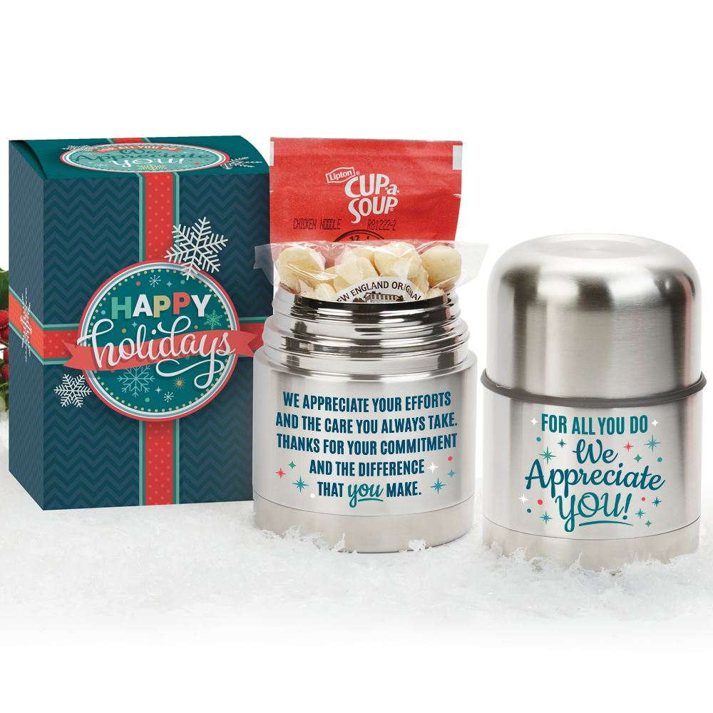 For All You Do We Appreciate You Stainless Steel Vacuum Food Container Gift Set in Holiday Gift Box