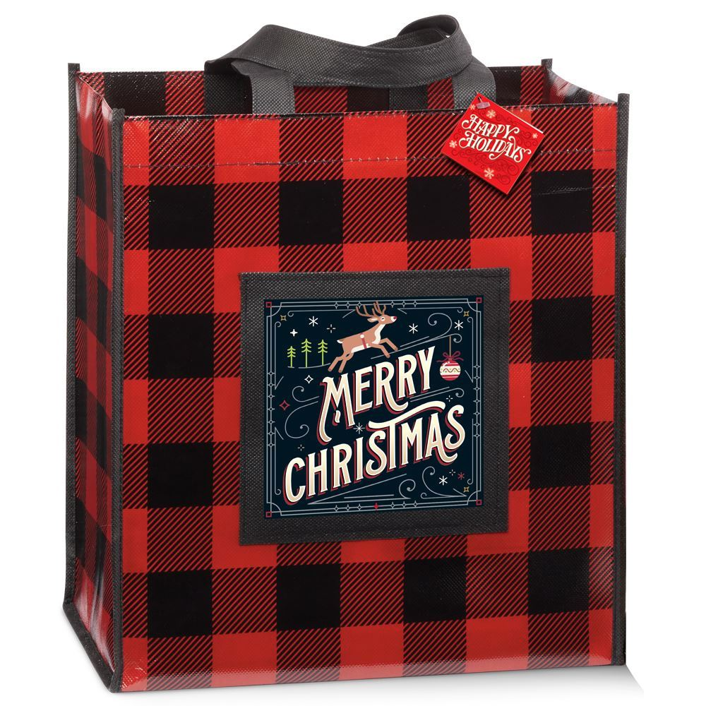 Buffalo Plaid Laminated Eco-Shopper Tote With Holiday Gift Card