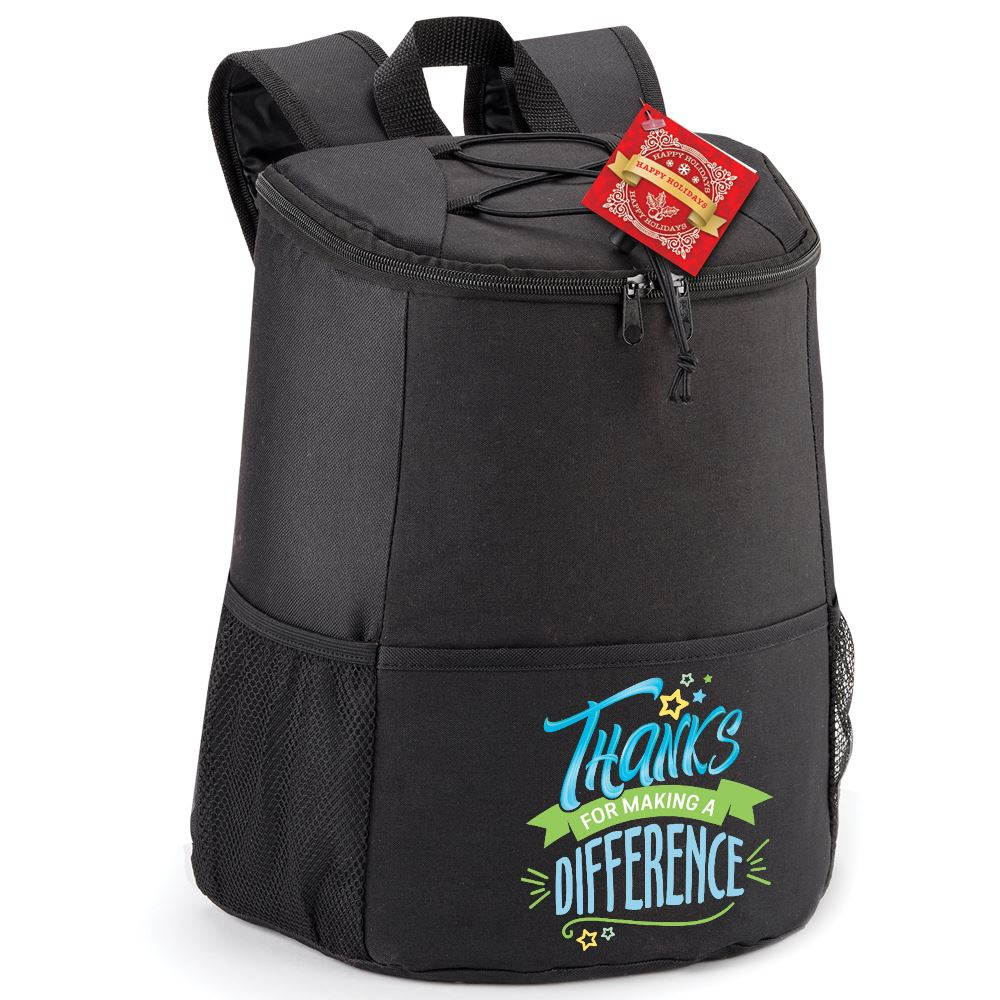 Thanks For Making A Difference Hemingway Backpack Cooler With Holiday Gift Card