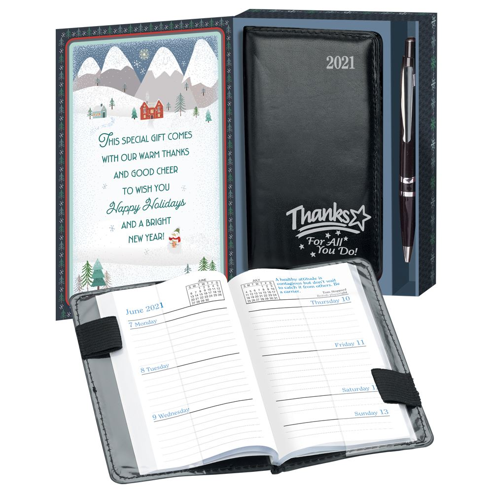Thanks For All You Do 2021 Weekly Planner & Pen In Holiday Gift Box