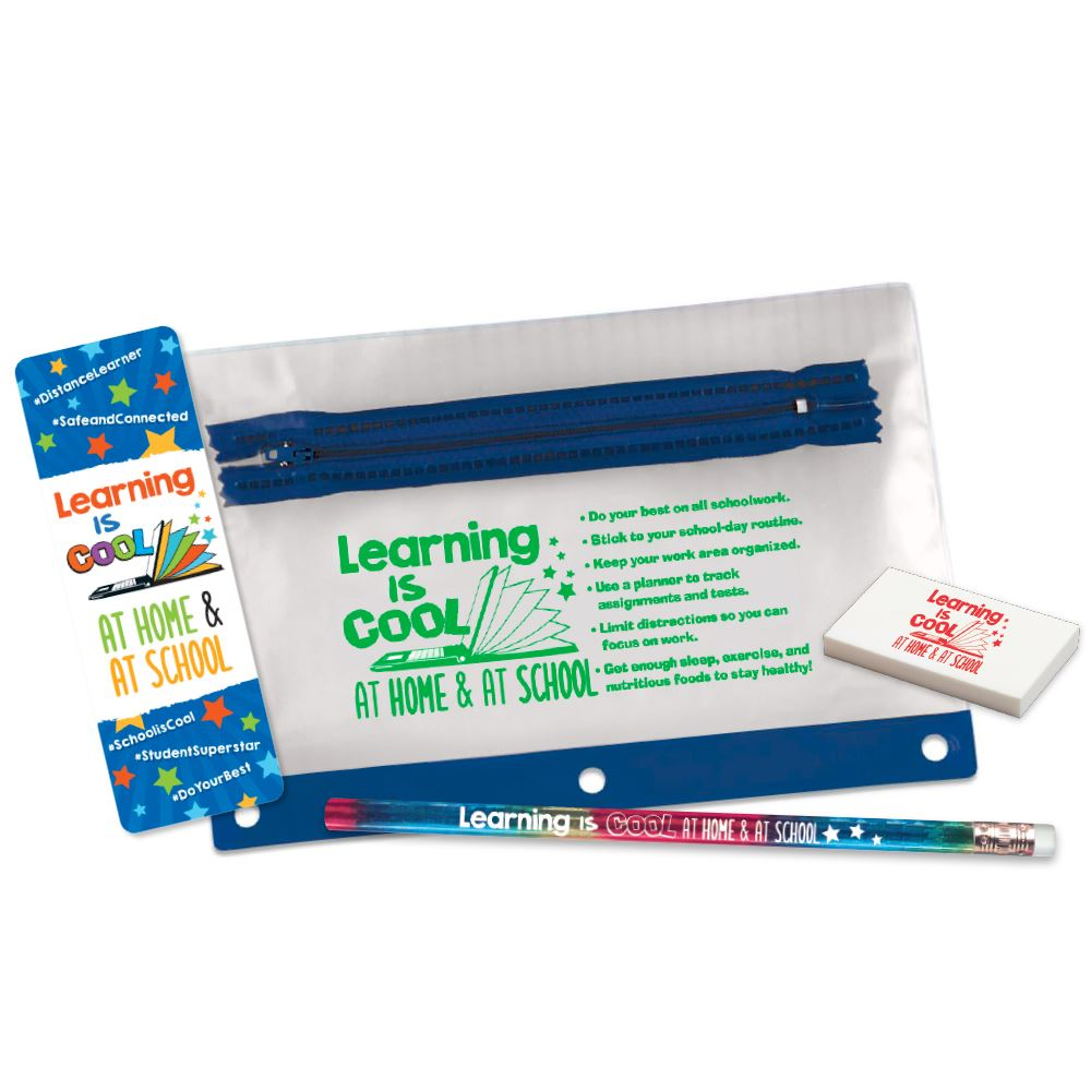 Learning Is Cool At Home & At School Pencil Pouch Set