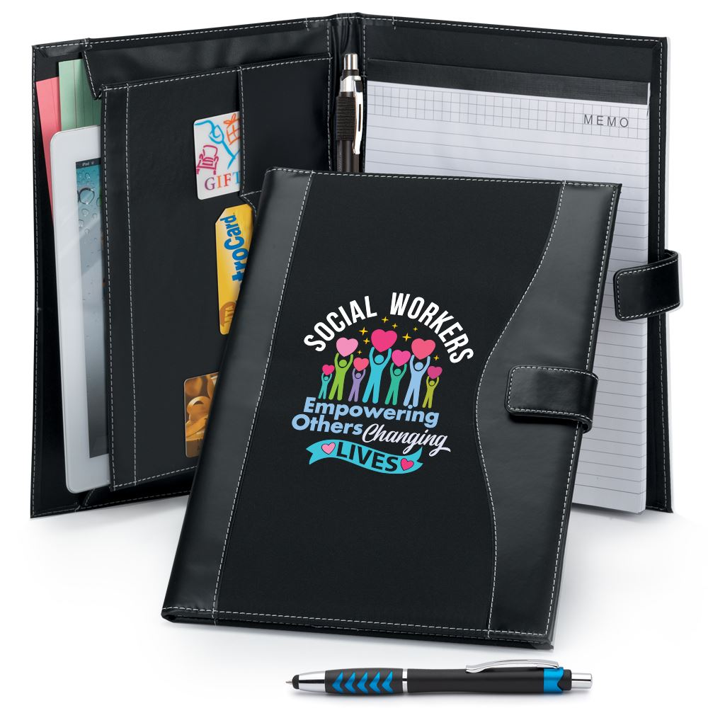 Social Workers: Empowering Others, Changing Lives Leatherette Portfolio With Stylus Pen