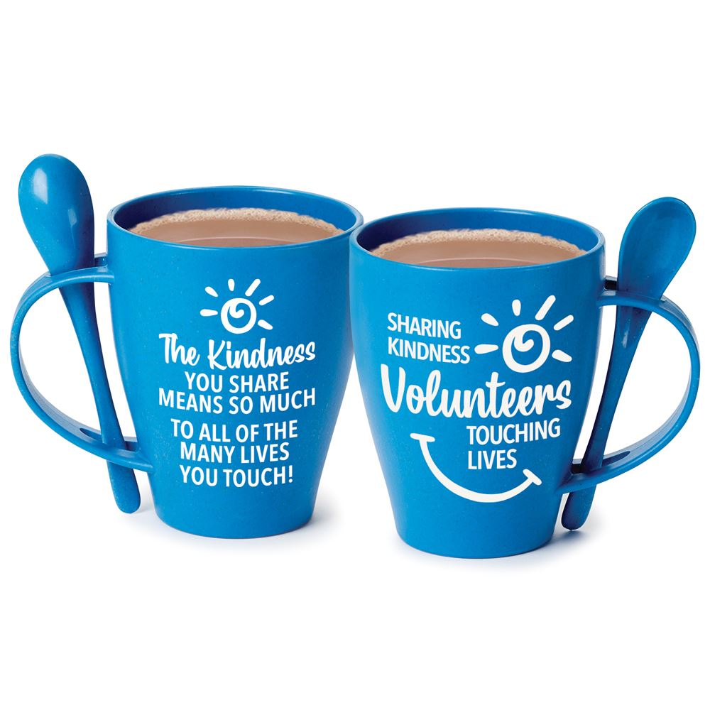 Volunteers: Sharing Kindness, Touching Lives Eco-Friendly Wheat Mug 12-Oz. With Spoon