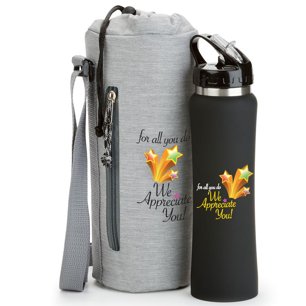 For All You Do, We Appreciate You Stainless Steel Water Bottle & Bottle Sling Gift Set
