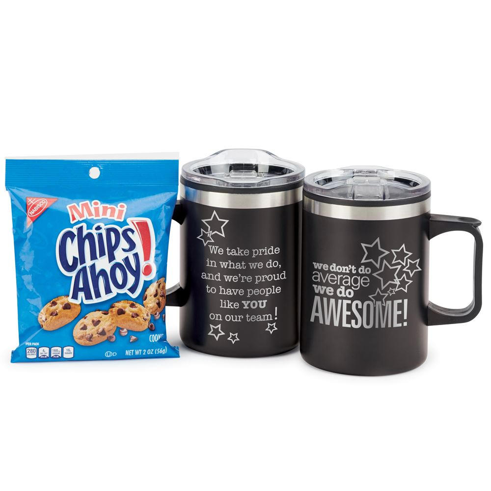 We Don't Do Average We Do Awesome! Sonoma Mug With Chips Ahoy Cookies
