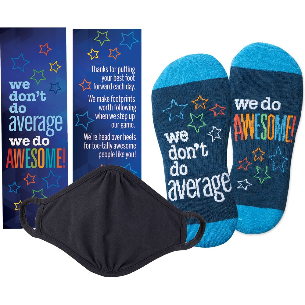 We Don't Do Average We Do Awesome! Face Mask And Socks