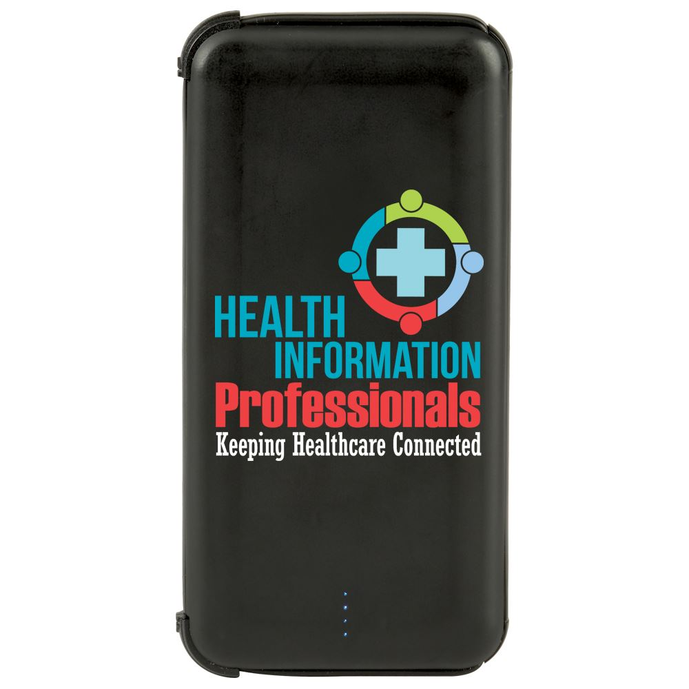 Health Information Professionals Keeping Healthcare Connected 5000 mAh UL��Power Bank With Built-In Charging Cords