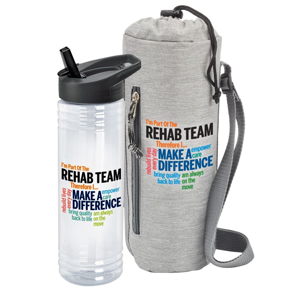 I'm Part Of The Rehab Team Therefore I... Insulated Bottle Cooler Sling & Solara Water Bottle Combo