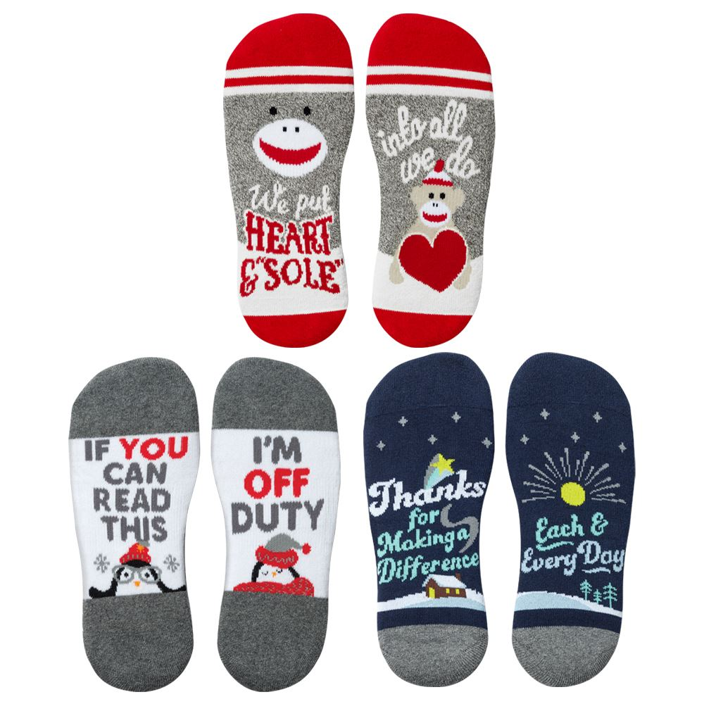 �Toe�-tally Awesome Ankle Socks 3-Pack Assortment With Holiday Gift Wrapper