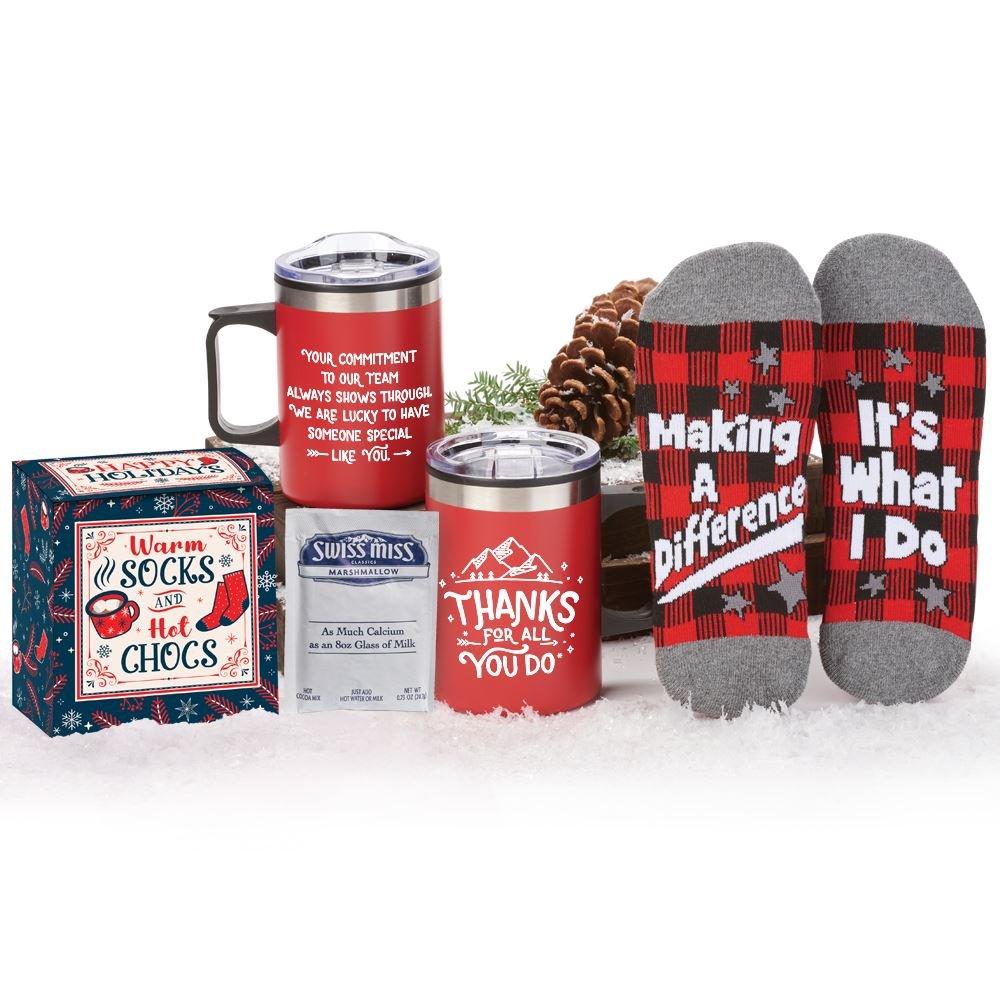 Thanks For All You Do! Sonoma Mug, Buffalo Plaid Socks & Hot Chocolate Gift Set In Holiday Gift Box
