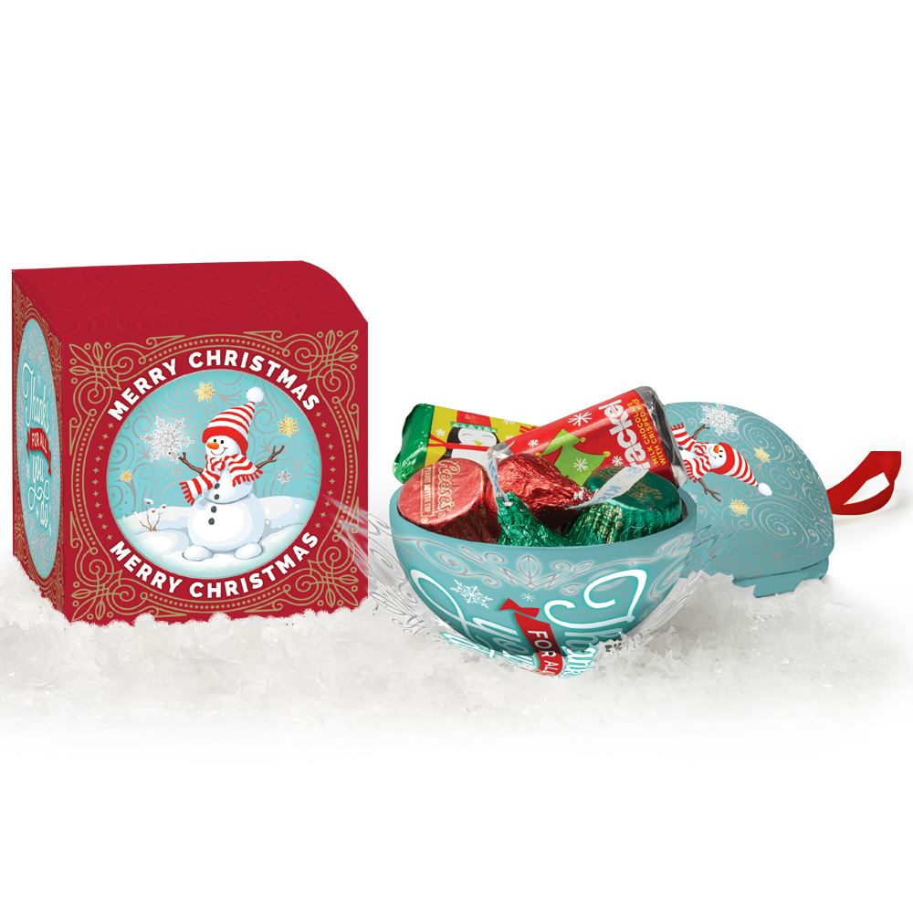 Snowman Metal Ornament With Hershey's® Holiday Miniatures Chocolates In Merry Christmas Gift Box