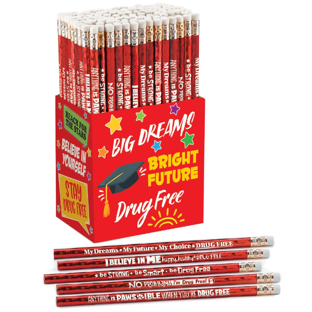 Red Ribbon Week Sparkle Foil Pencil Collection - Pack of 150
