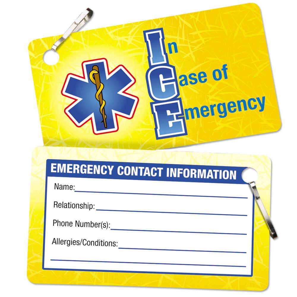 In Case Of Emergency (ICE) I.D. Card