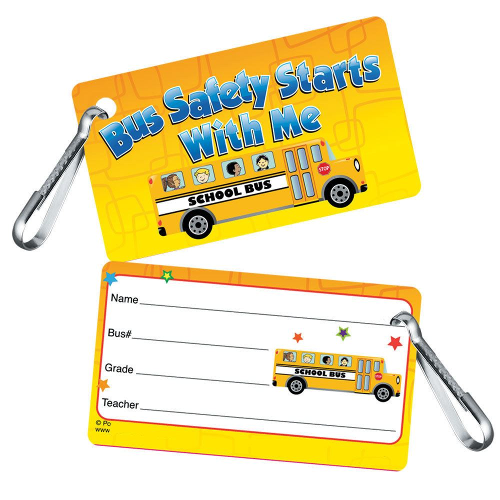 Bus Safety Starts With Me Clip-On Student School Bus I.D. Card