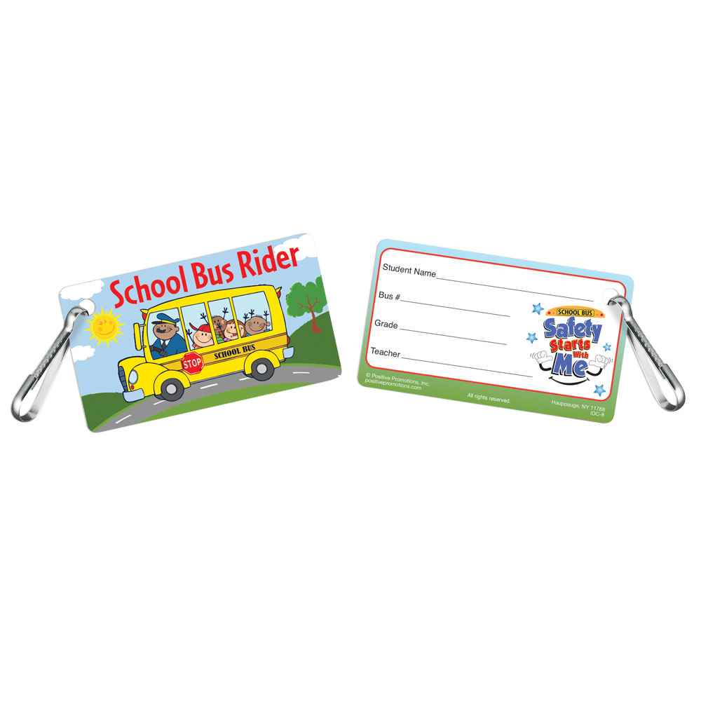 School Bus Rider Clip-On Student School Bus I.D. Cards - 25 Per Pack