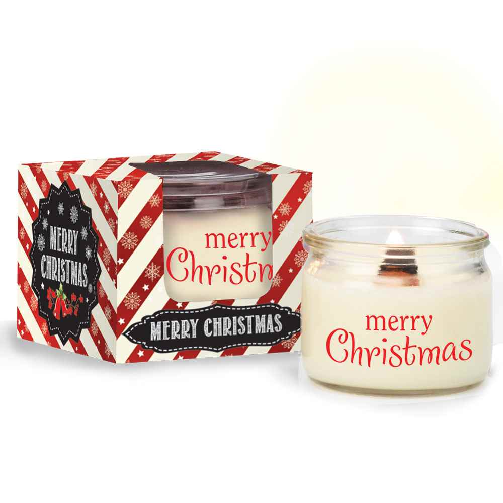 Merry Christmas White Candle in Holiday Gift Box