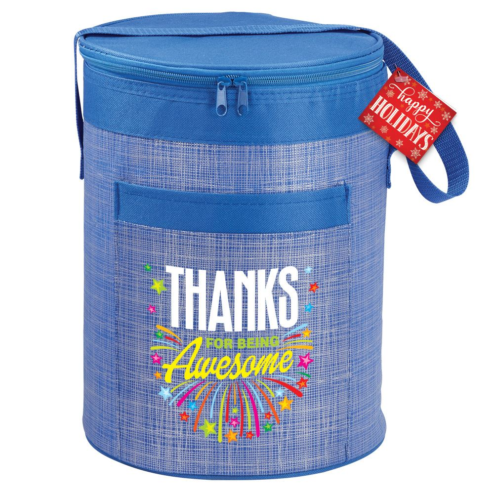 Thanks For Being Awesome Blue Barrel Cooler Bag