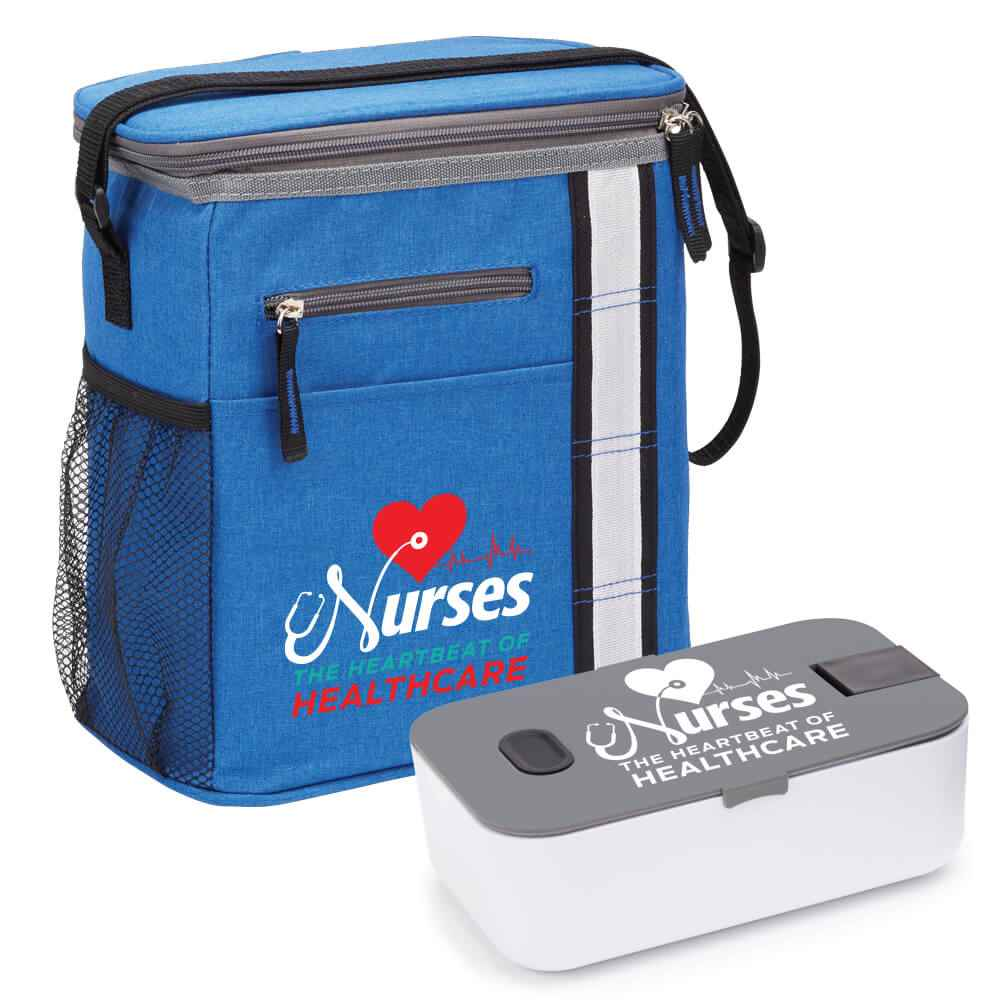 Nurses: The Heartbeat of Healthcare Blue Lunch/Cooler Bag & Food Container Gift Set