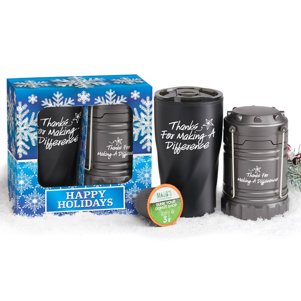 Thanks For Making A Difference Lantern & Coffee-To-Go Mug Holiday GIft Set