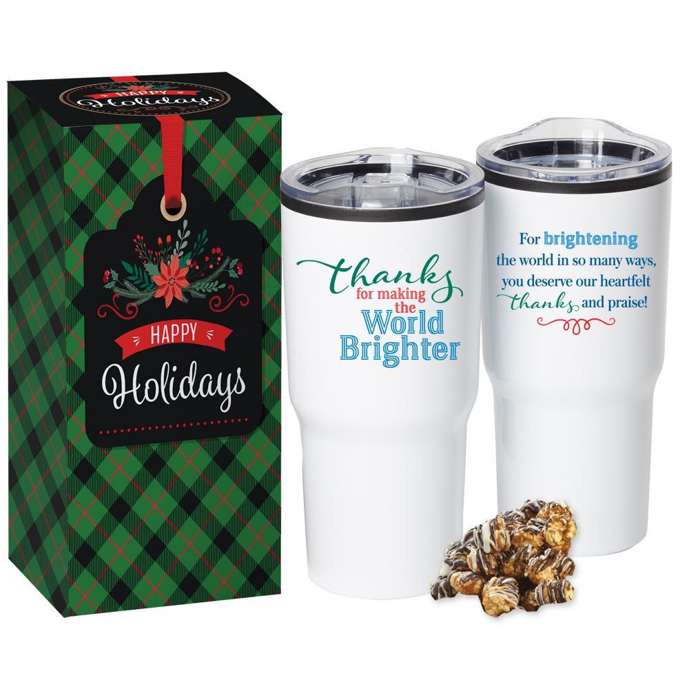 Thanks For Making The World Brighter Timber Tumbler With White/Dark Chocolate Popcorn