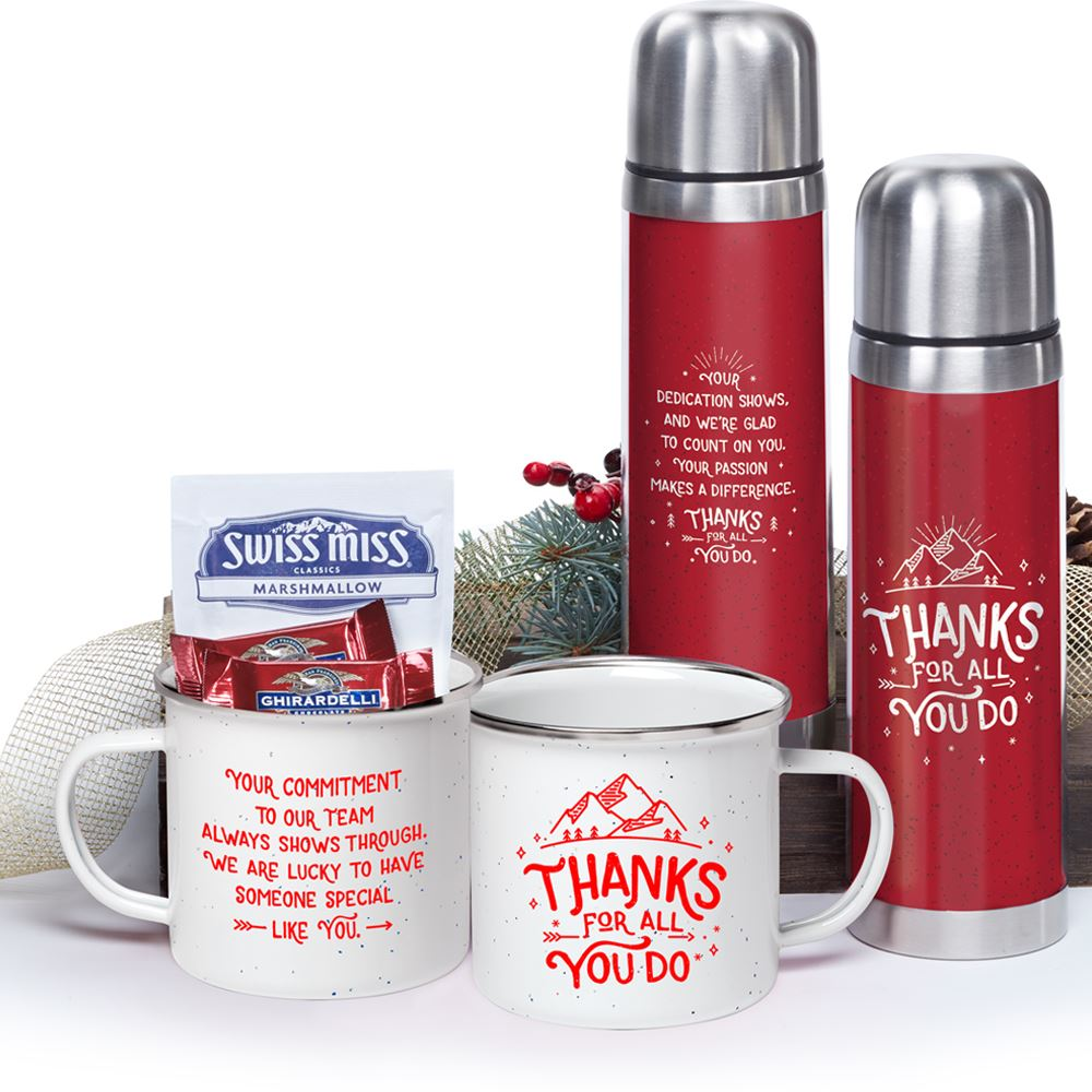 Thanks For All You Do Campfire Mug & Retro Thermos Gift Basket