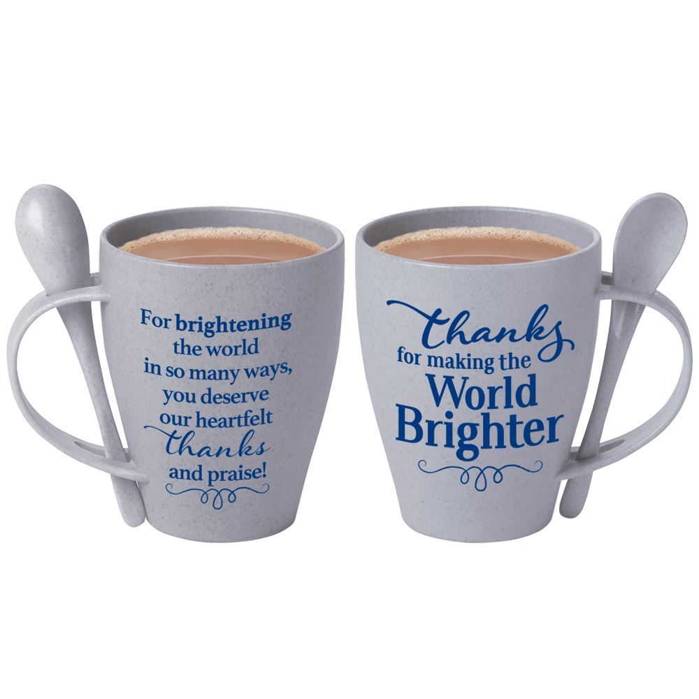 Thanks For Making The World Brighter Eco-Friendly Wheat Mug 12-Oz. With Spoon