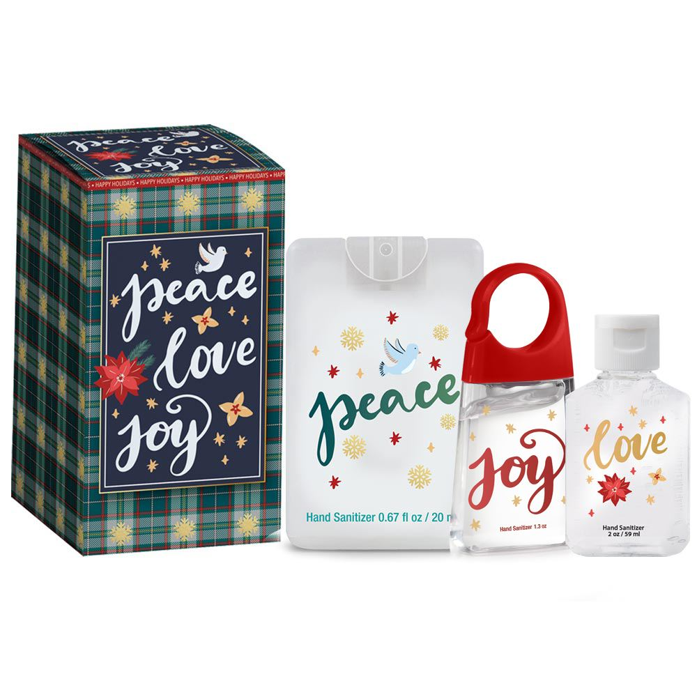 Peace, Love, Joy Hand Sanitizer Trio In Holiday Gift Box