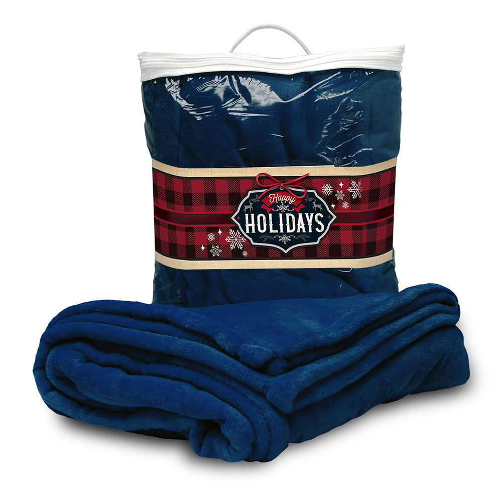 Mink Touch Blanket with Happy Holidays Full Color Sleeve