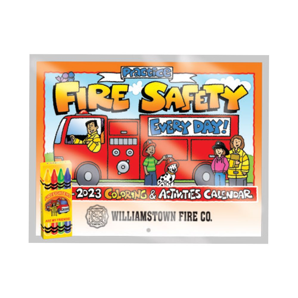 Practice Fire Safety Every Day! 2021-2022 Coloring & Activities Calendar with Crayons - Personalization Available