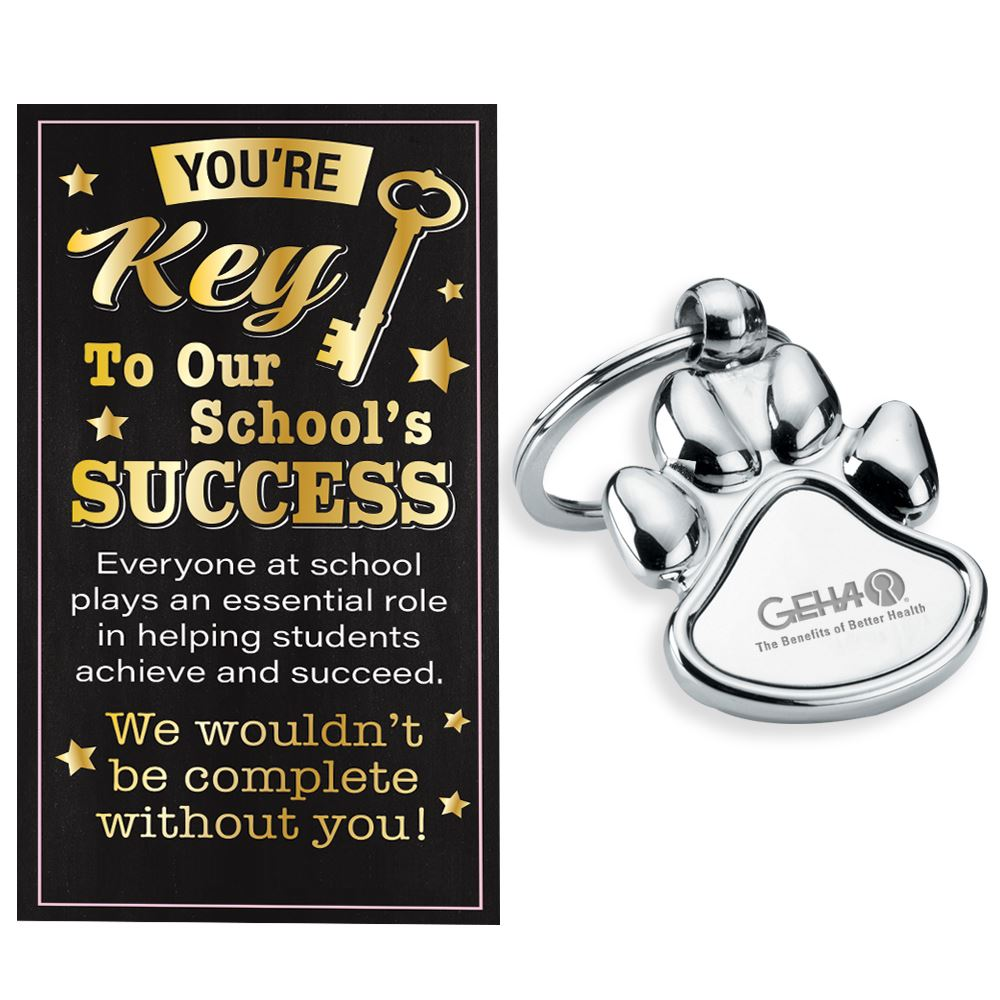 Paw-Shaped Key Ring With Keepsake Card - Personalization Available