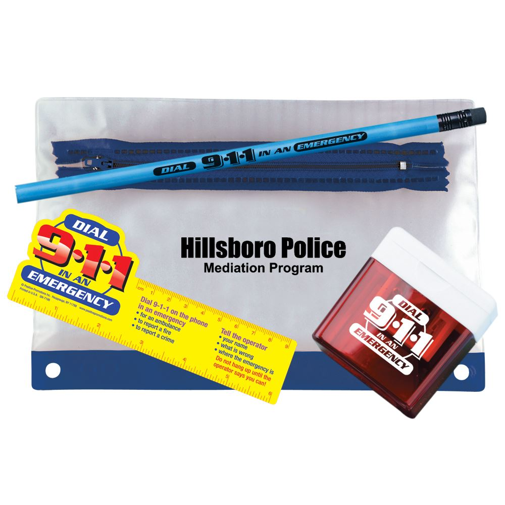 Dial 9-1-1 In An Emergency Pencil Pouch Gift Set - Personalization Available