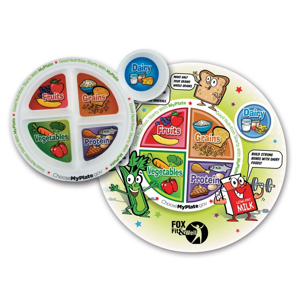 MyPlate Child's Round Laminated Placemat and Child's Portion Plate Combo - Personalization Available