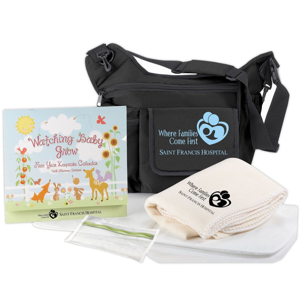 On-The-Go Unisex Insulated Sling Diaper Bag Gift Set - Personalization Available