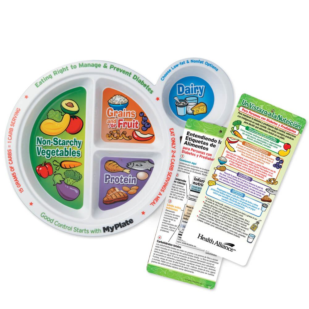 Portion Meal Plate With Spanish Language Glancer For People With Diabetes - Personalization Available