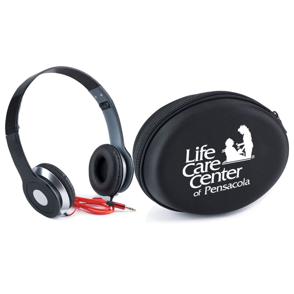 Folding Headphones With Case - Personalization Available
