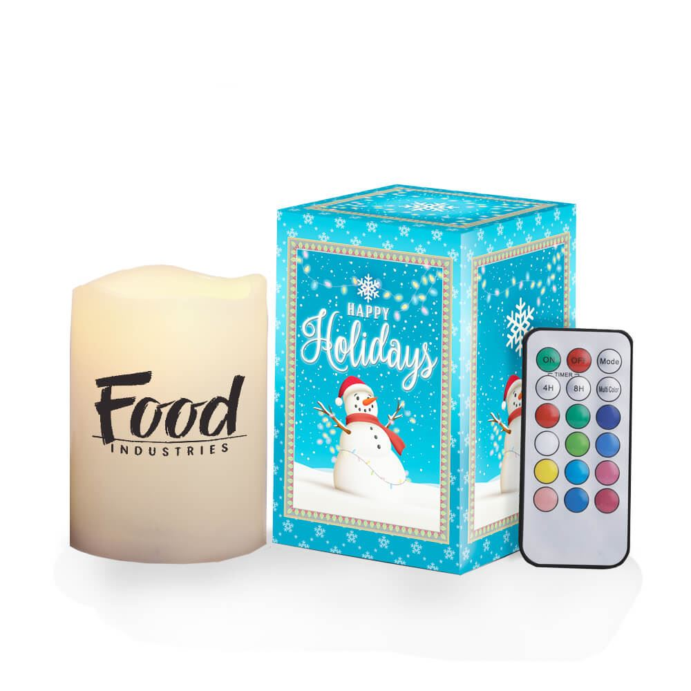 Color-Changing Flameless Candle With Remote in Holiday Gift Box - Personalization Available