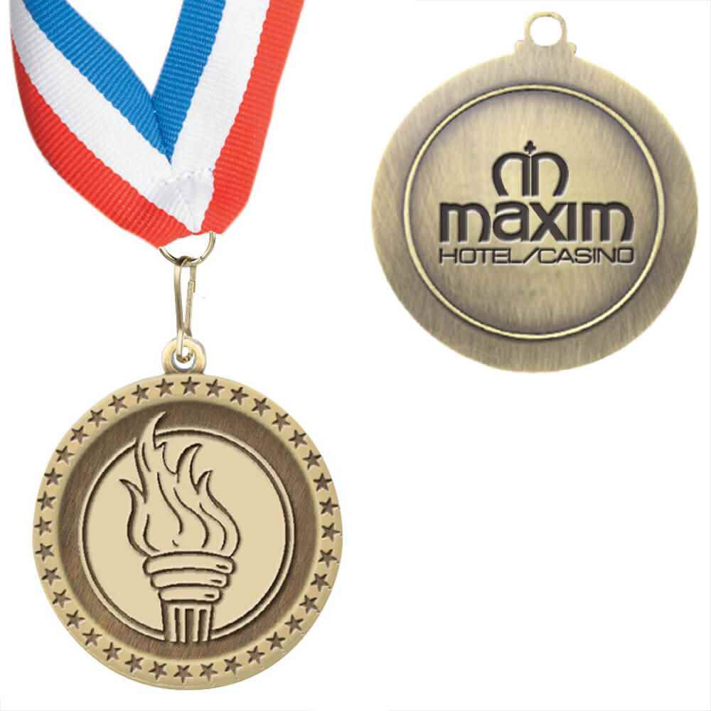Torch Staff Performance Medallion With Ribbon - Personalized